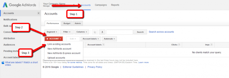 link adwords accounts