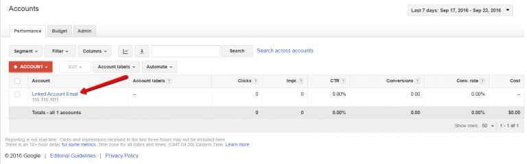 adwords linked accounts menu