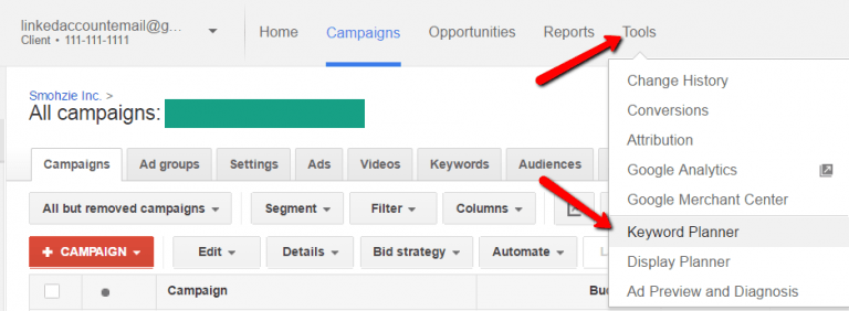 select keyword planner