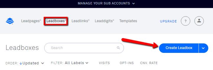 leadbox menu